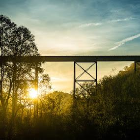 Train Trestle at Sunrise by Jay Huron - Landscapes Sunsets & Sunrises ( silhouette, rail road, trestle, bridge, sunrise )