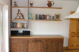 Contemporay Sideboard with Offset Shelving - Solid Oak and American Black Walnut