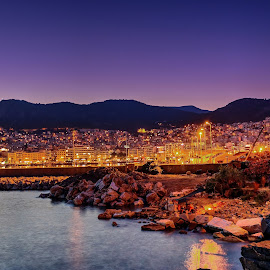 Nightview of Kavala by Stratos Lales - City,  Street & Park  Vistas ( kavala, sea, night, view, fire )