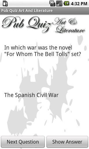 Pub Quiz Art And Literature