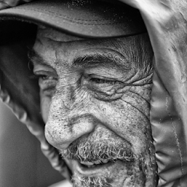 fisherman by Luca Paramidani - People Portraits of Men ( winter, b&w, smile, fisherman, man )