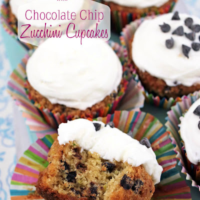 Chocolate Chip Zucchini Cupcakes with Cream Cheese Frosting