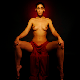 Red is my choice by Vineet Johri - Nudes & Boudoir Artistic Nude ( art nude, low key, vkumar photography, madam bink, red fabric )