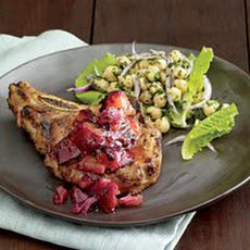Grilled Pork Chops with Plum-Ginger Sauce