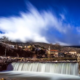Silk clouds above...silk on the water... by Pedro Silva - Landscapes Cloud Formations ( #pedro silva images, #waterfall, #portugal, #unhais da serra, #canon )