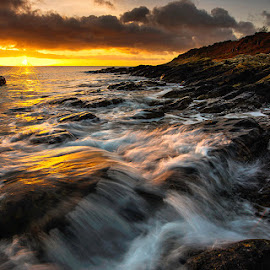 Sunrise At Bloody Bridge by Leslie Hanthorne - Landscapes Waterscapes ( co-down., waterscape, waves, sunrise, mourne coast )