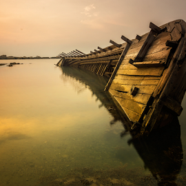 Stranded Giant by Ade Noverzan - Transportation Boats ( stranded, shipwreck, sunset, beach )