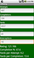 Screenshot of QB Passer Rating Calculator