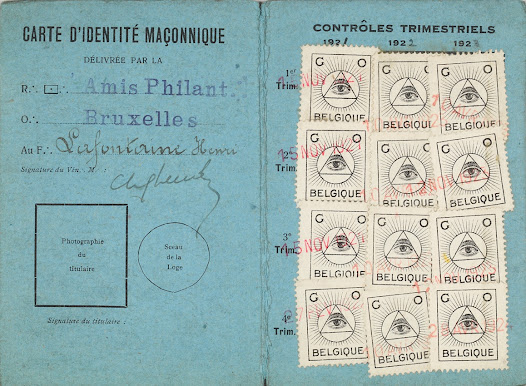 Henri La Fontaine's masonic identity card, delivered by the Lodge Les Amis Philanthropes, 1921 (detail)