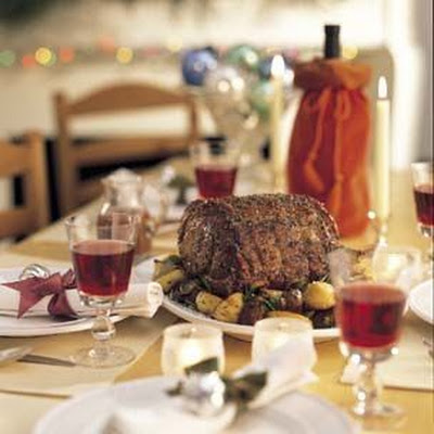 Standing Rib Roast with Jerusalem Artichokes and Potatoes