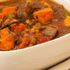 Lentil and Sausage Soup Recipe with Sweet Potatoes and Herbs