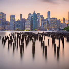 Manhattan Dusk by Mark Rogers - City,  Street & Park  Skylines ( sunset, long exposure, manhattan, new york, nyc, , golden hour, sunrise )