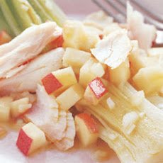Leeks Vinaigrette with Smoked Whitefish and Apple