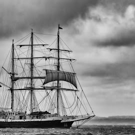 Ghost Ship by Kelly Murdoch - Transportation Boats ( water, uk, tall ship, bw, iow, sail, isle of wight, boat, ztam )