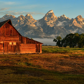 Low Clouds in Jackson Hole by Jeff Clow - Landscapes Travel ( mountains, nature, barn, wyoming, landscape photography, western, travel, morning, landscape, usa, natural, rural )