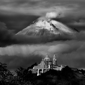 Church and volcano by Cristobal Garciaferro Rubio - Black & White Landscapes ( cholula, volcano, popo, mexico, puebla, popocatepet )