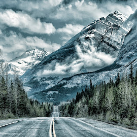 Along the Parkway by Jeff Clow - Landscapes Mountains & Hills ( clouds, alberta, canada, parkway, travel, road, landscape, holiday, mountains, vacation, nature, dramatic, trees )
