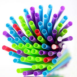 by Dipali S - Artistic Objects Other Objects ( abstract, color, multi, artistic, white background, straws )