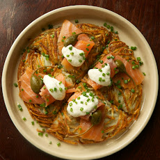 Rosti with Gravlax, Caper Berries and Horseradish Cream