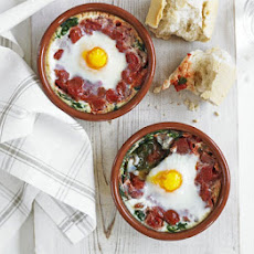 Baked Eggs With Spinach & Tomato