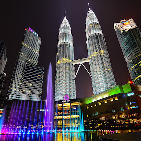 KLCC Symphony Lake by Jacky Photography - City,  Street & Park  Skylines ( klcc, colors, fountain, lake, symphony )