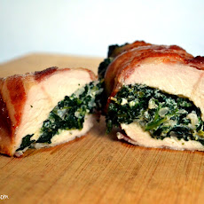 Spinach Stuffed Bacon Wrapped Chicken Breasts