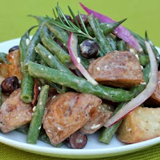 Green Bean, Red Onion, and Roast Potato Salad with Rosemary Vinaigrette
