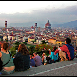 florence sunset by Leslie Hunziker - City,  Street & Park  Historic Districts ( florence, europe, sunset, italy, city )