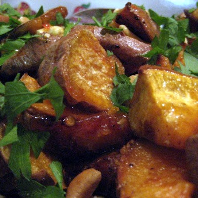 Roasted Sweet Potato Salad w/ Chili sauce, parsley and cashew nuts