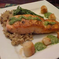 Salmon and Scallops with Macadamia Pesto