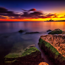 Post Sunse Glow by Darren Breckles - Landscapes Sunsets & Sunrises ( lake ontario, sunset, wet rocks, long exposure, 10 stop nd )