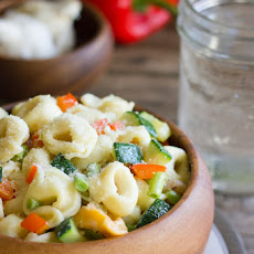 Summertime Vegetable Tortellini With Creamy Garlic Sauce