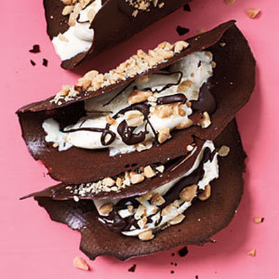 Chocolate Tacos with Ice Cream and Peanuts