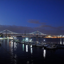 Ben Franklin Bridge from the deck of Moshulu by Whitney Bowley - City,  Street & Park  Skylines