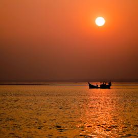 Golden hours by Rashedul Tarek - Landscapes Sunsets & Sunrises ( sunsets, sunset, hour, boat, sun, golden, river, golden hour )