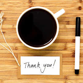 Thank you coffee by Hilton Luke - Food & Drink Alcohol & Drinks ( pen, stock photography, thank you, wood, coffee, write, hand writing, writing, stock photo )