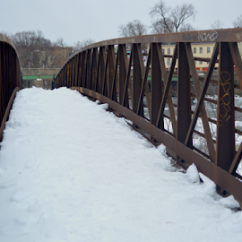 Snow Covered Footbridge by Rob Kovacs - Novices Only Objects & Still Life