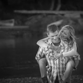 D+T by Maryann Burrows - People Couples ( canon, canada, black and white, piggy back ride, beach, zoom lens, people, romance, couples, dslr, love, woman, flirting, esquimalt lagoon, outdoors, summer, victoria, outside, man, september, british columbia )