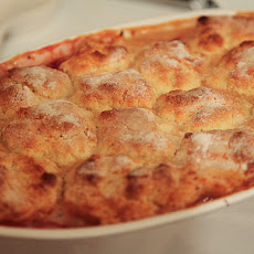 Ginger Peach and Strawberry Cream Cobbler