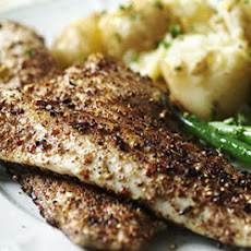 Spiced Sea Bass with Crushed New Potatoes and Green Beans