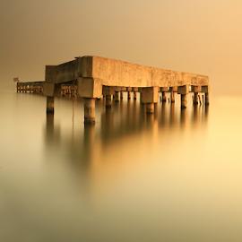 Abandon Pier by Joshua Sujasin - Landscapes Sunsets & Sunrises ( north jakarta, dawn, abandon pier, marina ancol, seaside,  )