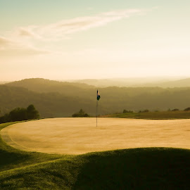Mist On The Green by Kim Wilhite - Sports & Fitness Golf ( golf course, french lick, golf, pete dye, mist )