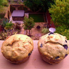 Kittencal's 1-Gram Low Fat Banana-Blueberry Muffins