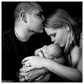 3-Way Kiss by Christi Davis-Gevara - People Family ( babies, families, portrait, newborn, kisses )