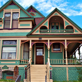 Victorian  by Becky McGuire - Buildings & Architecture Homes ( home, mcguire, victoriana, vintage, cripple creek, colorado, retro, fun, house, cute, cream, history, tvlgoddess, blue, victorian, town, prints, small, becky,  )