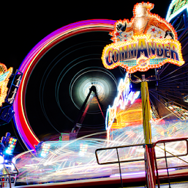 Commander ride by Roman Kolodziej - City,  Street & Park  Amusement Parks ( lights, funfair, ride, excitment, night, fun, colours, city, Lighting, moods, mood lighting )