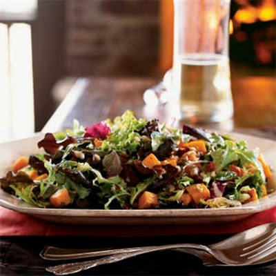 Roasted Squash Salad with Bacon and Pumpkin Seeds