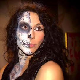 Lara from American Girl on Halloween night. by Bernie Penman - People Body Art/Tattoos ( olde england )