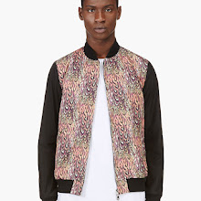 Miharayasuhiro Coral And Purple Feather Print Bomber Jacket