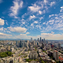 Seattle from Skyneedle by Levent Cetin - City,  Street & Park  Skylines ( clouds, skyline, seattle, cityscape, city )